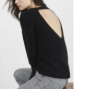 Express Black Knit Sweater with Open Back